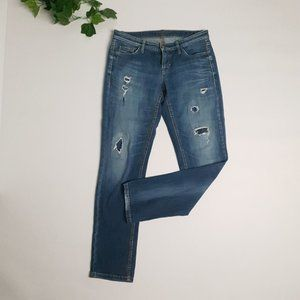 CAMBIO Woman's Designer Blue Jeans Sequin Distress